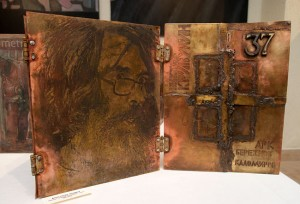 В честь Виктора Кривулина.  Книга художника. Обложка. Латунь, травление, оксидная тонировка. 45х40