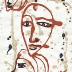 Лица на стене. Линеарный портрет.