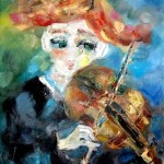 Маленькая скрипачка. 65х60, х.м., 2010г. (Little violinist. Oil on canvas)